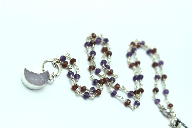 Druzy Moon Necklace Natural Quartz Garnet & Amethyst Sterling image 0