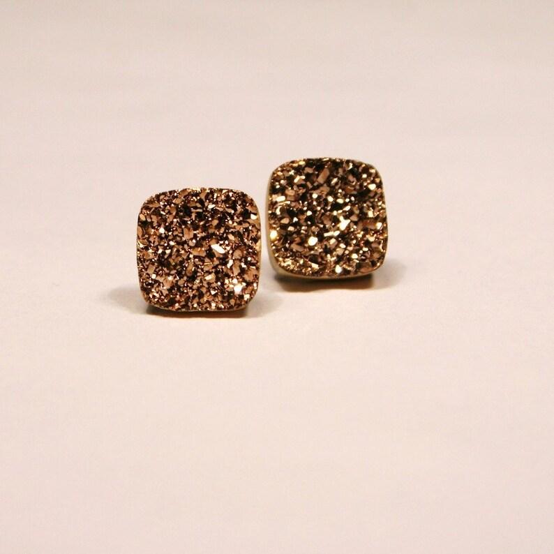 5bf1e0d33 Rose Gold Druzy Stud Earrings Metallic Square Bold Genuine | Etsy