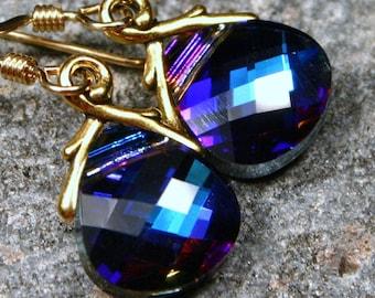 Navy Blue Crystal Earrings Deep Peacock Gold Royal Bright Cobalt Bermuda Swarovski Flat Briolette Drop Indigo Purple Celestial Sky Dazzling