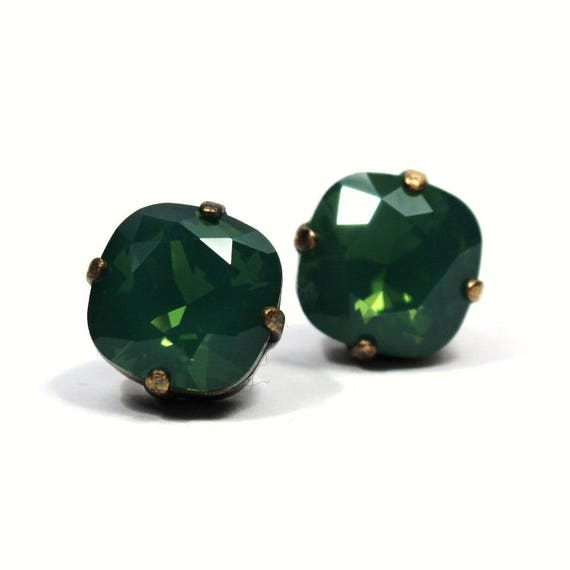 1456f7e2419ac Emerald Green Opal Crystal Stud Earrings Sparkling Kelly Shamrock Solitaire  Swarovski 10mm Sterling Post & Copper Palace Jade Sage Moss