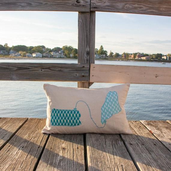 "Custom State to State Lumbar Pillow · 16"" x 26"" · Map Accent Pillow · Housewarming Decorative Throw Pillow · Moving Gift · Wedding Gift"