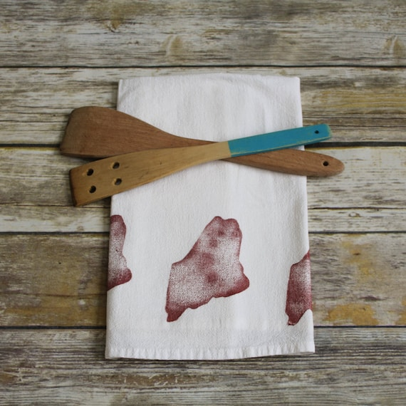 Maine Tea Towels · State of Maine Custom Dish Towels · Beach Home Flour Sack Towel · Cabin Kitchen Accessories · New Home Gift for Mom