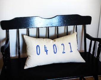 "Custom Zip Code Lumbar Pillow · 16"" x 26"" · Accent Pillow · Decorative Throw Pillow · Pillow Cover · Lumbar Pillow"