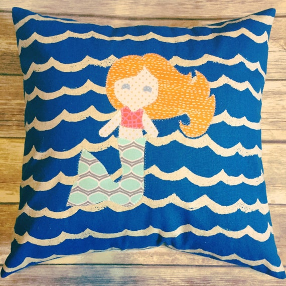 Custom Mermaid Pillow · Mermaid Pillow Girl's Room Decor · Custom Kid's Decor · 18x18 inch Personalized Little Girl's Gift