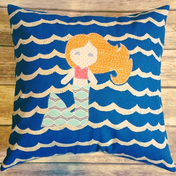 Custom Mermaid Pillow · Mermaid Pillow Girl's Room Decor · Custom Kid's Decor · 18x18 inch Personalized Little Girl's Gift