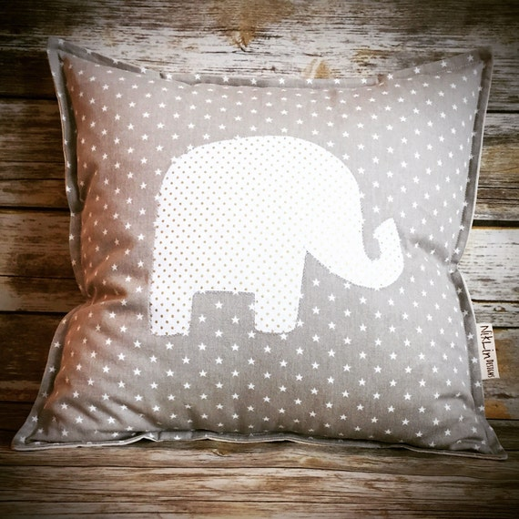 Elephant Nursery Pillow · Elephant Pillow Baby Room Decor · Custom Pillow Nursery Decor · 18x18 inch Personalized Baby Shower Gift