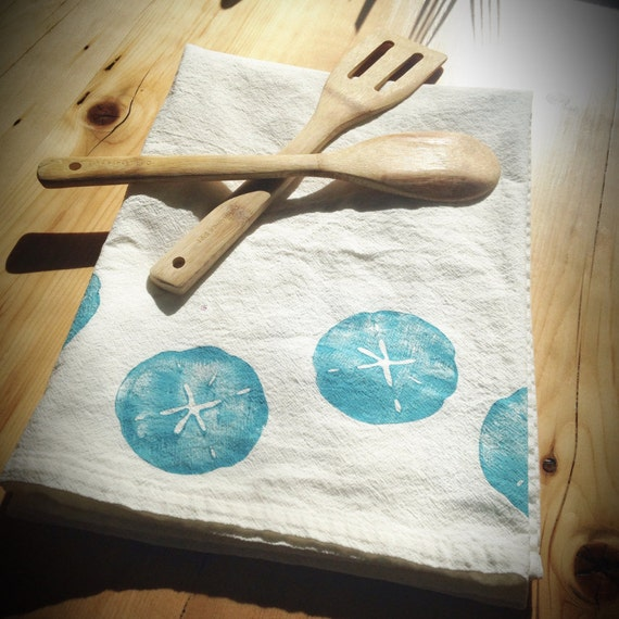 Sand Dollar Flour Sack Towel · Kitchen Towel · Tea Towel · Kitchen Linens · Beachy Dish Towel · Nautical Kitchen Towel