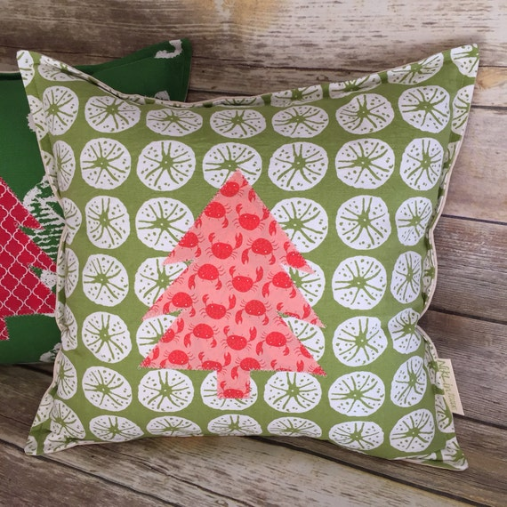 Christmas Tree Pillow · Holiday Decoration Custom Gift · Beach Christmas Home Decor · 18x18 Pillow · Accent Pillow