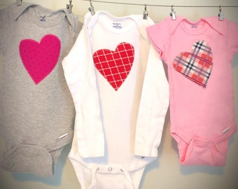 Heart Baby Bodysuit · Baby Girl Outfit · Valentines Outfit · Cute Baby Clothes or Toddler Clothes