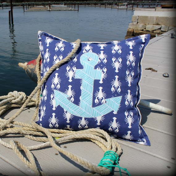 Anchor Throw Pillow · Nautical Pillow Beach House Decor · Anchor Pillow Gift for Sailor · 18x18 inch Custom Pillow Cover with Pillow