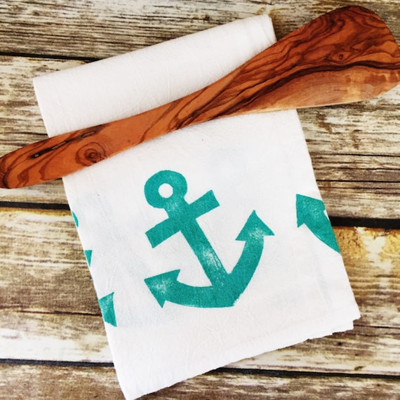 Anchor Flour Sack Towels · Custom Tea Towel Beach Home Decor · Nautical Kitchen Towels · Anchor Towel House Warming Gift