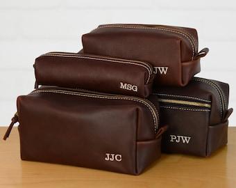 Personalized Leather Dopp Kit Groomsmen Gift   Monogram Leather Mens Toiletry Bag Leather Travel Bag   Gift for Husband Dad Grad Boyfriend