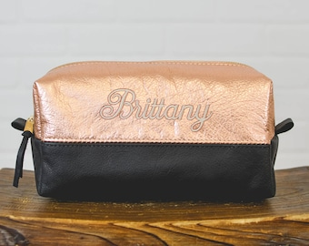 Personalized Rose Gold & Black Leather Makeup Bag Cosmetic Case| Leather Toothbrush Pouch Travel Bag Bridesmaid Gift for Mom Girlfriend Wife