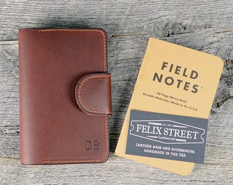Handmade Chestnut Leather Memo Book Cover with Personalized Initials, Pen Holder, Card Slot - Field Notes, Moleskin, Journal, groomsmen gift