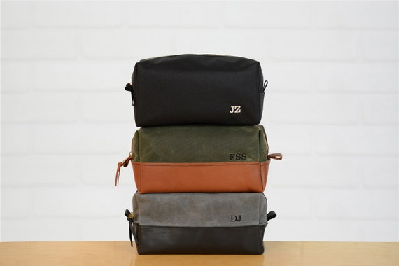 991421138b1 Waxed Canvas and Leather Toiletry Bag Leather Dopp Kit   Etsy