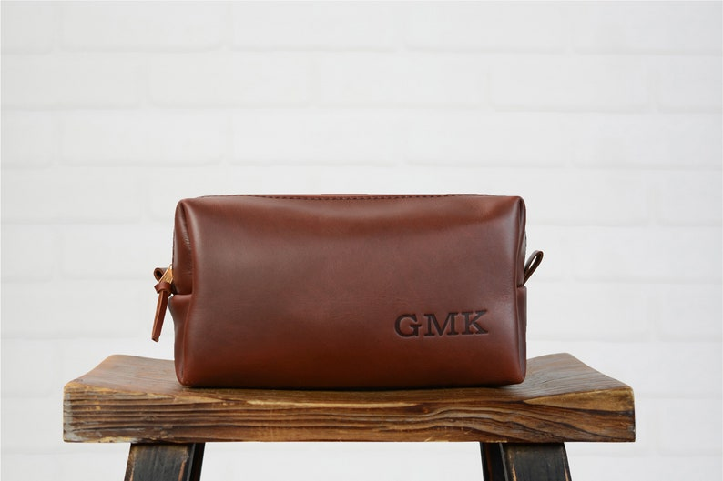 Custom Leather Dopp Kit Custom Groomsmen Gift Monogram  8573c70466ba9