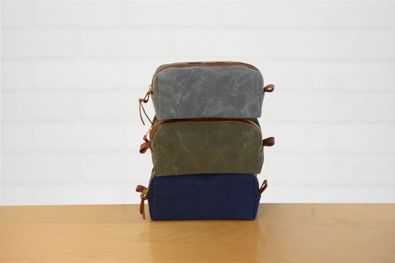 8980d65cf67f Personalized Leather   Canvas Dopp Kit Groomsmen GiftMonogram