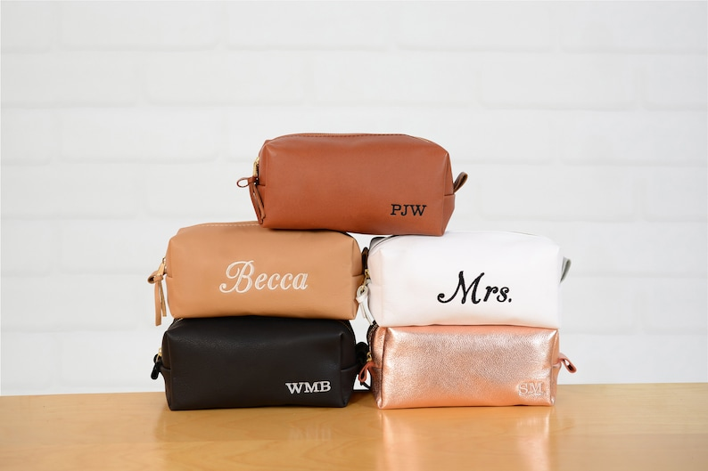 8470baf6a670 Personalized Travel Makeup Bag Bridesmaids Gift Leather Bag