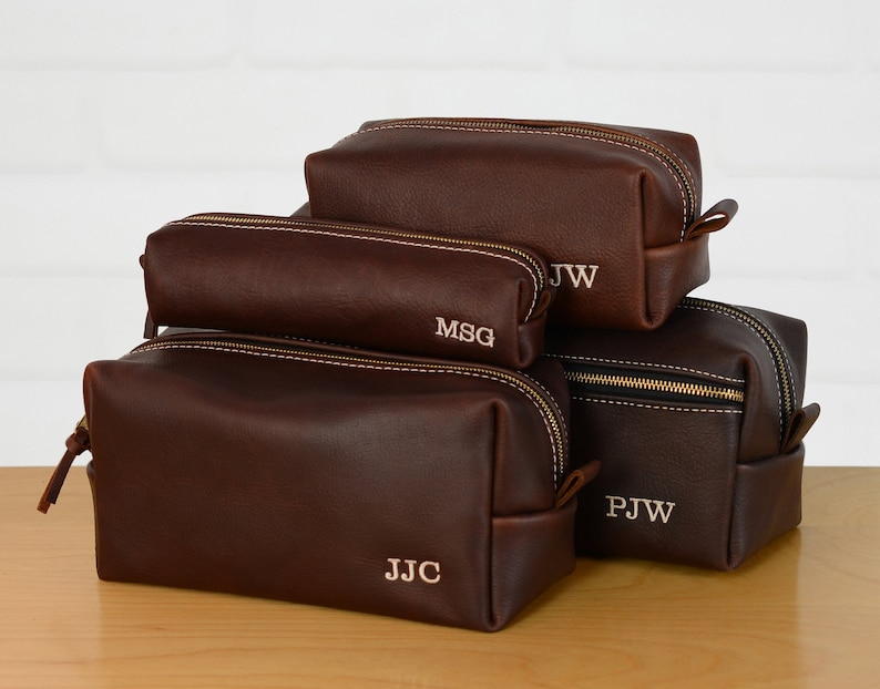 57dad01a9702 Personalized Leather Dopp Kit Groomsmen Gift Monogram