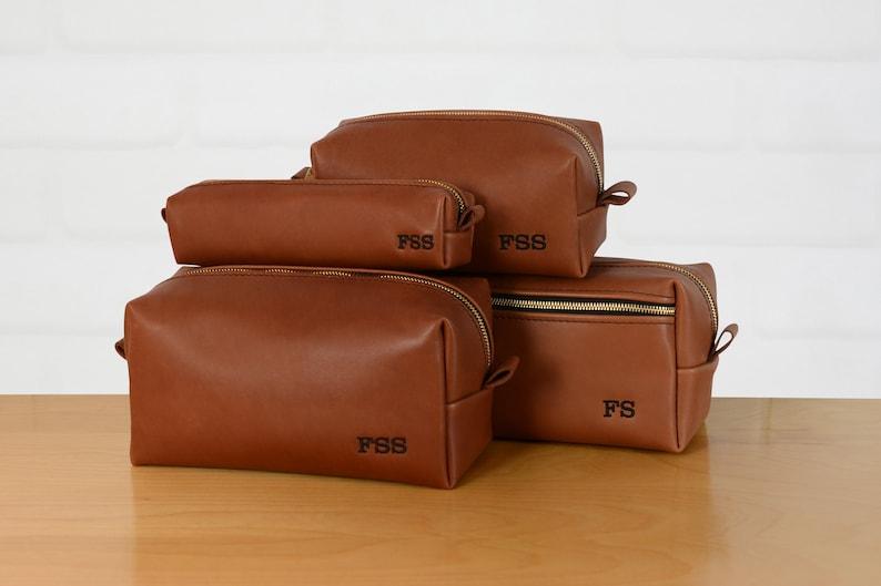 6d3d6c2ffcc8 Personalized Leather Dopp Kit Groomsmen Gift Monogram