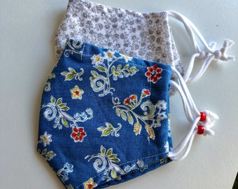 Cloth Face Mask, Set of Two Face Masks, Country Blue Floral Face Mask, Gray Floral Face Mask, Double Cotton Reusable Mask