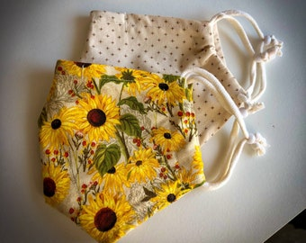 Cloth Face Mask, Sunflower Face Mask, Fabric Mask, Set of Two Face Masks, Adjustable Mask, Double Cotton, Reusable Mask, Floral Face Mask