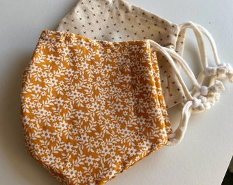 Cloth Face Mask, Set of Two Face Masks, Burnt Orange Floral Face Mask, Two Pack Face Mask, Double Cotton Reusable Mask, Rust Autumn Neutral