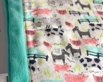 Barn Animals Flannel and Fleece Baby Blanket, Green Fleece Blanket, Pigs Cows Sheep Goats, Warm Double Fleece and Flannel Receiving Blanket