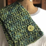 Spring Water Green Button Scarf Neck Warmer Green and Blue Button Cowl