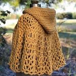 Gold Hooded Capelet, Crochet Hooded Cape, Crochet Shawl, Golden Yellow Cape, Crochet Capelet, Ladies Sweater, Crochet Sweater, OOAK