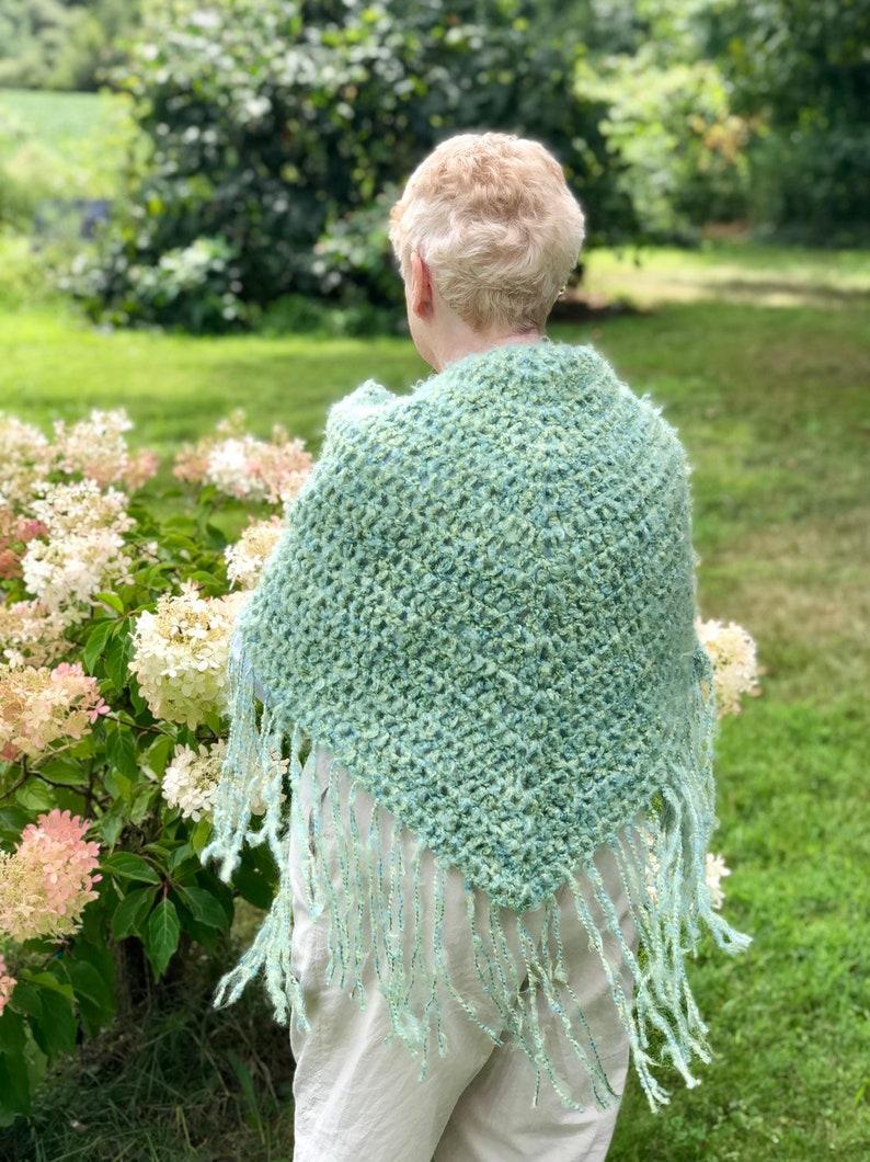 Green Crochet Shawl with Fringe Green Meadow Ladies Shawl image 0