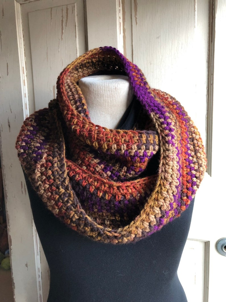 Multi Color Crochet Circle Scarf Rust Brown Amethyst image 0