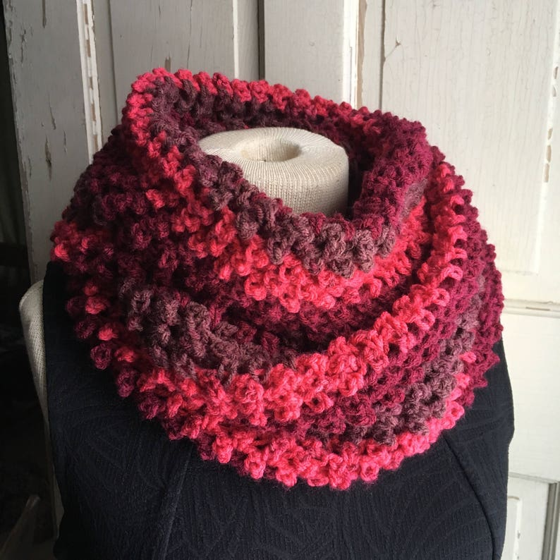 Red Stripe Infinity Cowl Scarf Long Circle Cowl Crochet Scarf image 0