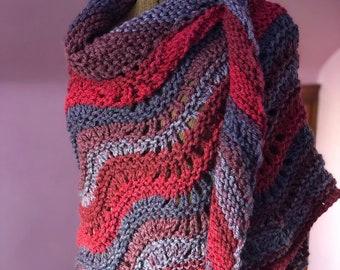 Hibiscus Shawl, Hand Knit Shawl in Red Blue Purple, Ripple Shawl, Chunky Shoulder Wrap Shawl, Oversized Ladies Shawl, Red Knit Shawl