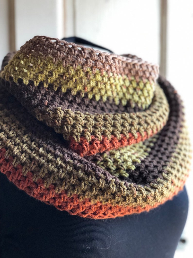 Earth Colors Crochet Circle Scarf Crochet Cowl Infinity image 0