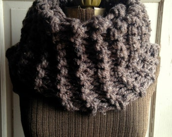 Chunky Knit Scarf Barley Brown Infinity Cowl Claire Outlander Style