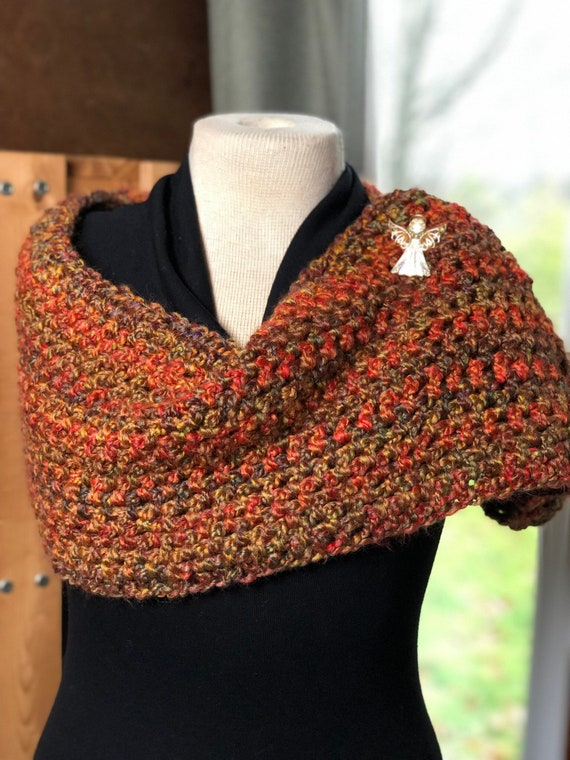 f210976b3266c9 Autumn Homespun Infinity Cowl Scarf Circle Cowl Crochet Scarf
