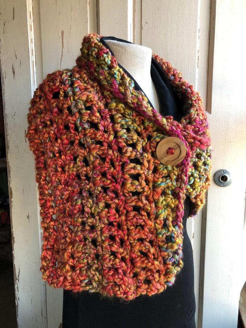 Multicolor Rainbow Button Wrap Colorful Crochet Button Scarf image 0