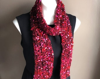 Red Scarf, Red Crochet Scarf in Silky Shades of Red with bits of Pink and Purple, Red and Pink Scarf