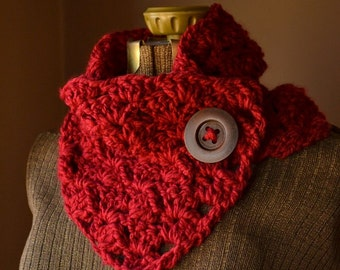 Button Scarf Neck Warmer Cowl Custom Button Scarf Red Button Scarf Cowl