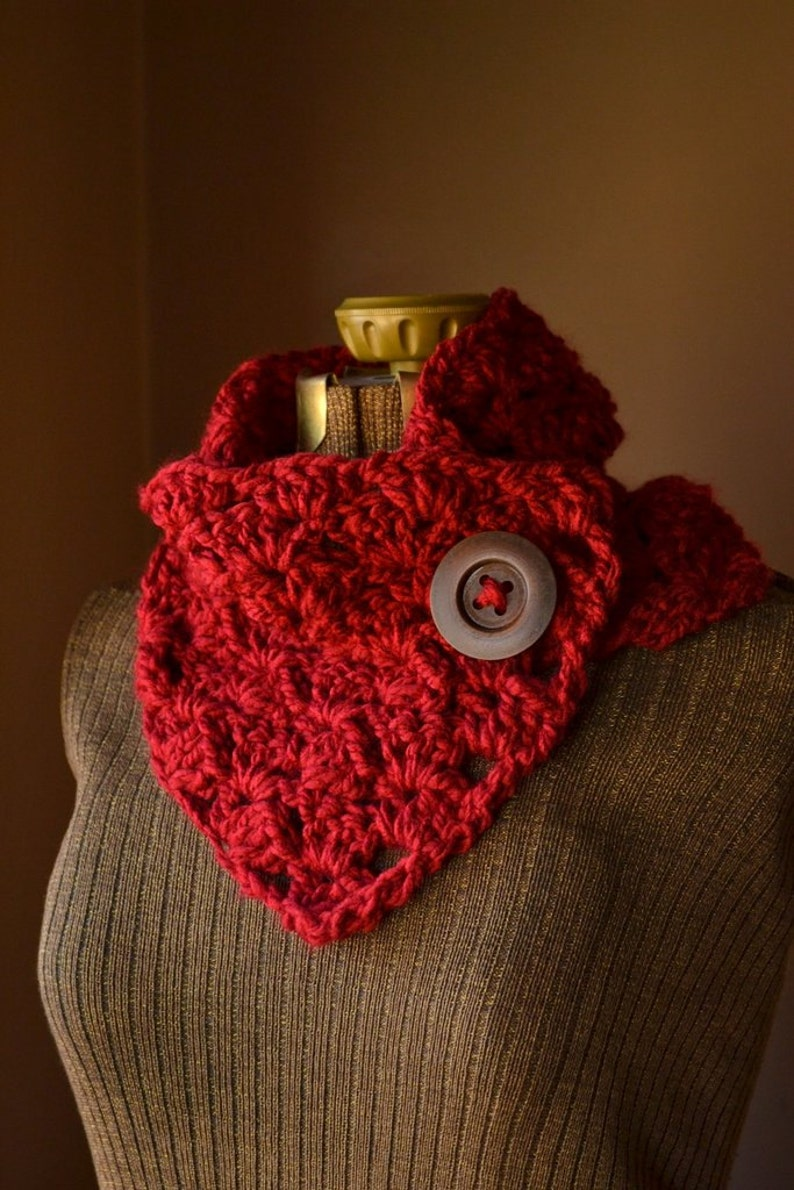 Red Button Scarf Neck Warmer Crochet Cowl Custom Colors image 0