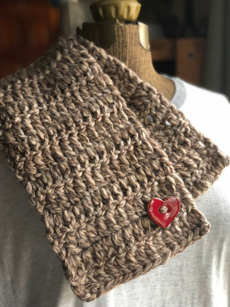 Mushroom Taupe Red Heart Button Scarf Neck Warmer Cowl Button image 0