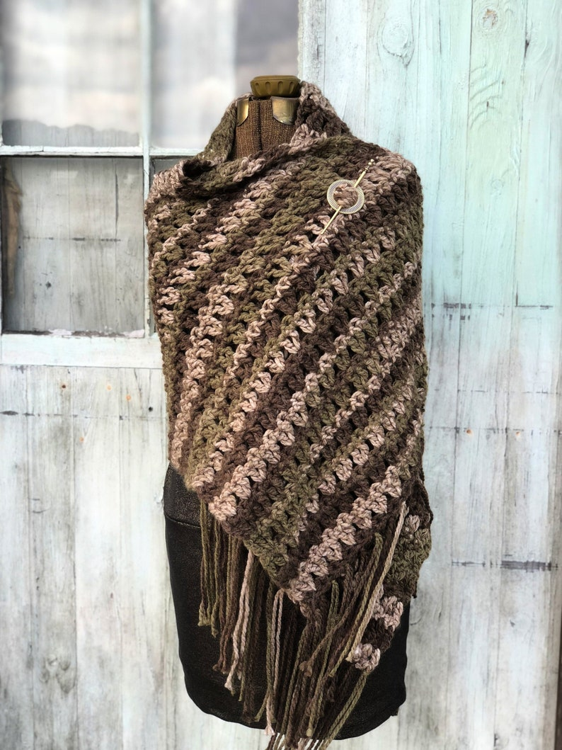 Cozy Cabin Shawl Wide Crochet Scarf Forest Green Brown Taupe image 0
