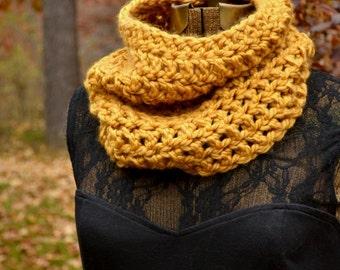 Golden Mustard Yellow Cowl Scarf Neckwarmer Autumn Accessories