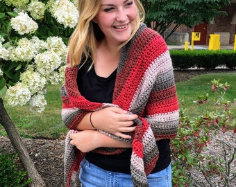Red and Gray Striped Triangle Shawl, Striped Crochet Shawl, Shoulder Wrap, Crochet Wrap, Crochet Triangle Shawl, Gifts For Her