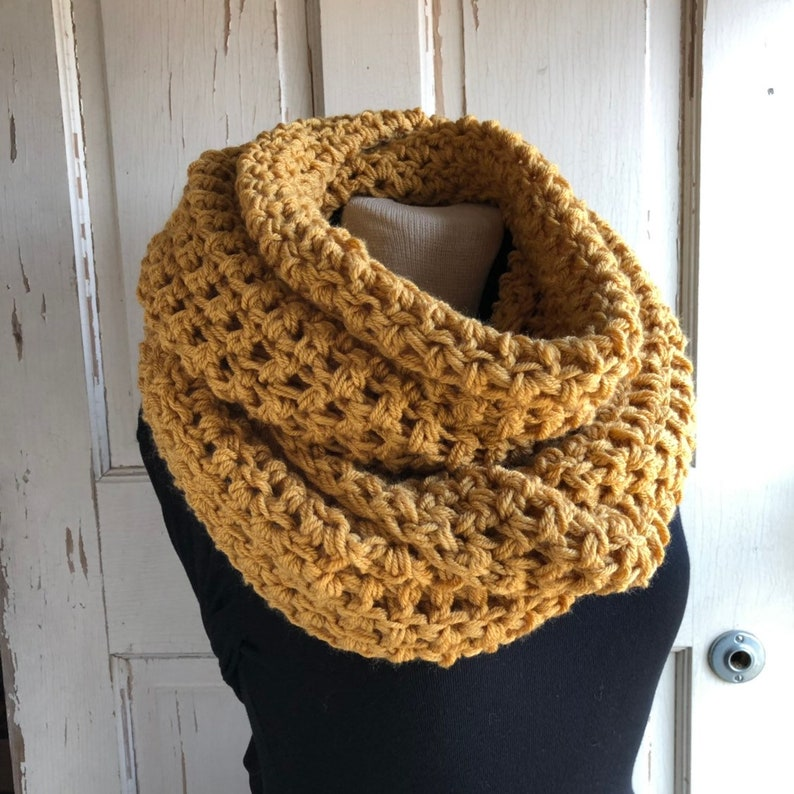Golden Yellow Infinity Scarf Gold Crochet Scarf Long Circle image 0