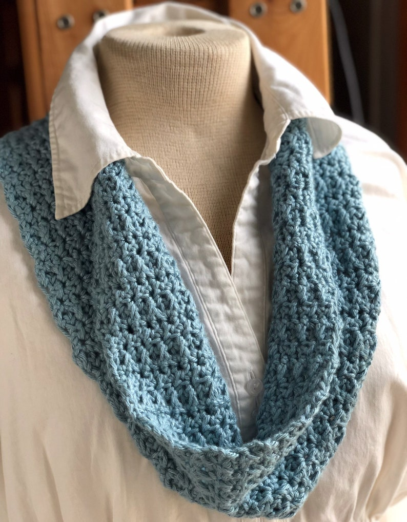 Light Teal Blue Scarf Bamboo Silk Crochet Cowl Blue Cowl image 0