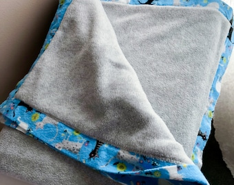 Blue and Gray Fleece and Flannel Kids Blanket, Black Cat, White Cats on Blue Flannel, Warm Double Fleece and Flannel Baby Blanket