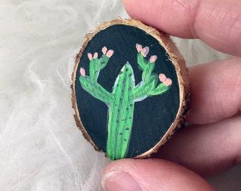 Hand Painted Mini Cactus Wood Slice Painting