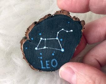 Hand Painted Mini Leo Constellation Wood Slice Painting